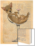 Chihuahua in Cocktail Glass Wood Print by  Fab Funky