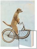 Meerkat on Bicycle Wood Print by  Fab Funky
