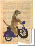 Meerkat on Dark Blue Moped Wood Print by  Fab Funky