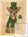 Chihuahua Leprechaun Wood Print by  Fab Funky