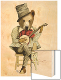 Banjo Bear Wood Print by  Fab Funky
