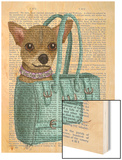 Chihuahua in Bag Wood Print by  Fab Funky