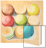9 Macarons Wood Print by  Redstreake