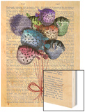 Puffer Fish Balloons Wood Print by  Fab Funky