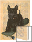 Scottish Terrier and Skateboard Wood Print by  Fab Funky