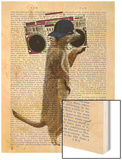 Meerkat with Boom Box Ghetto Blaster Wood Print by  Fab Funky