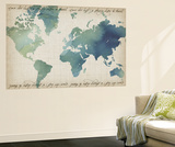 Watercolor World Map Wall Mural by Grace Popp