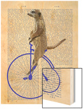 Meerkat on Blue Penny Farthing Wood Print by  Fab Funky