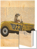 Meerkat in Hot Rod Wood Print by  Fab Funky