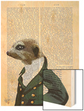 Dandy Meerkat Portrait Wood Print by  Fab Funky