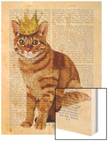 Ginger Cat with Crown Full Wood Print by  Fab Funky