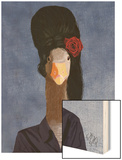 Amy Winehouse Goose Wood Print by  Fab Funky