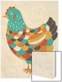 Country Chickens II Wood Print by Chariklia Zarris
