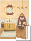 Nautical Bath II Wood Print by Wendy Russell