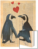 Penguins with Love Hearts Wood Print by  Fab Funky