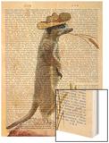 Meerkat Cowboy Wood Print by  Fab Funky