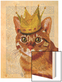 Ginger Cat with Crown Portrai Wood Print by  Fab Funky