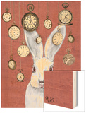 Rabbit Time Wood Print by  Fab Funky