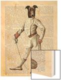 Greyhound Fencer in Cream Full Wood Print by  Fab Funky