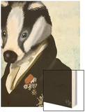 Badger the Hero Wood Print by  Fab Funky