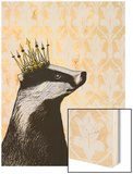 Badger King Wood Print by  Fab Funky
