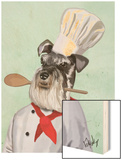 Schnauzer Chef Wood Print by  Fab Funky