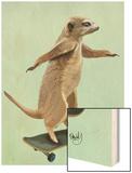 Meerkat on Skateboard Wood Print by  Fab Funky