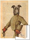 Greyhound Fencer Dark Portrait Wood Print by  Fab Funky