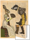 Look of Love Regency Badger and Hare Couple Wood Print by  Fab Funky