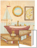 Nautical Bath I Wood Print by Wendy Russell