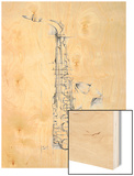 Saxophone Sketch Wood Print by Ethan Harper