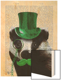 Badger with Green Top Hat and Moustache Wood Print by  Fab Funky