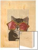 Kitten in Star Sunglasses Wood Print by  Fab Funky