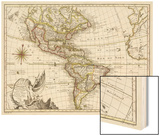 A New Map of America, 1769 Wood Print by  Vallet