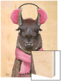 Chilly Llama Pink Wood Print by  Fab Funky