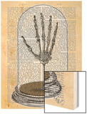 Skeleton Hand in Bell Jar Wood Print by  Fab Funky