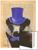Badger with Blue Top Hat and Moustache Wood Print by  Fab Funky