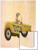 Meerkat in Hot Rod Wood Print by  Fab Funky