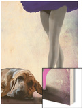 Bloodhound and Ballet Dancer Wood Print by  Fab Funky