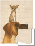 Great Dane and Chihuahua Wood Print by  Fab Funky