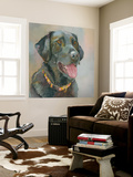 Harper Black Lab Wall Mural by Edie Fagan