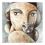 Cat and Woman Giclee Print by Didier Lourenco
