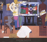 Artist with Painting and Model Prints by Romare Bearden