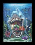 Fun Shark 3D Framed Art Poster