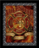 Volunteer Firefighter 3D Framed Art Posters