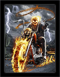 Flame Biker 3D Framed Art Posters