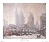 Winter in Downtown Dallas Samlertryk af Guy Wiggins