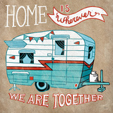 Adventure Love Camper Taupe Posters av Mary Urban