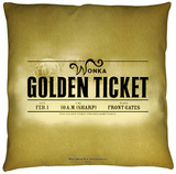 Charlie And The Chocolate Factory - Golden Ticket Throw Pillow Throw Pillow