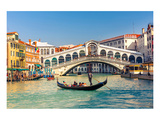 Gondola & Rialto Bridge Venice Art